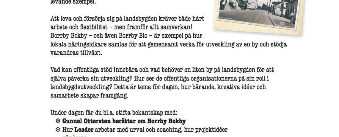 Levande byar - året om. Ett heldagsseminarium i Borrby Bokby