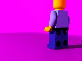Legogubbe ur en vinkel