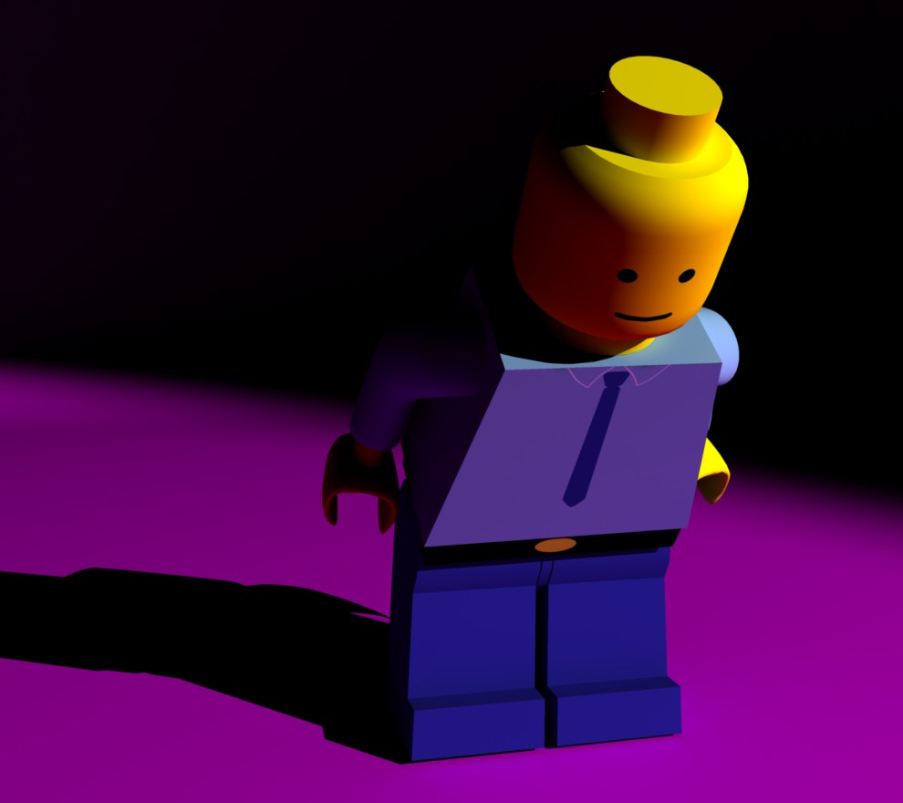 Legogubbe ur en annan vinkel