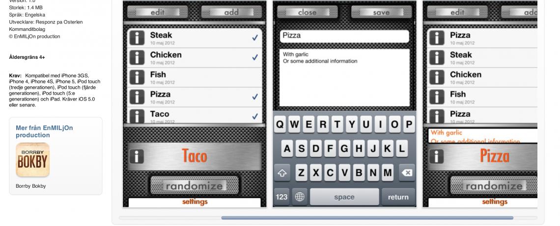 Skärmdump av Determinator på iTunes